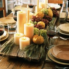dinner party ideas & decor Thanksgiving/Fall Centerpiece- wood planks are great for a rustic table setting.Thanksgiving/Fall Centerpiece- wood planks are great for a rustic table setting. Thanksgiving Table Settings, Thanksgiving Centerpieces, Diy Thanksgiving, Holiday Tables, Table Centerpieces, Candle Arrangements, Christmas Tables, Wooden Slab Centerpiece, Fall Centerpiece Ideas