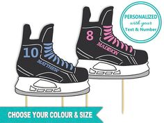 This Hockey Skate Cake Topper is perfect for any hockey themed party! Personalize it with your choice of text, number, and colour! Each order is handcrafted from layers of coloured cardstock (not printed).  Hockey Skate Cake Topper, Birthday Party, Birthday Cake, Personalized Name, Jersey Number, Team Colors, Ice Hockey, Ringette, Sports, Winter, Boy, Girl, Centerpiece Pick Hockey Birthday Parties, Hockey Party, Ice Hockey, Birthday Cake, Birthday Ideas, Ice Skating Party, Skate Party, Hockey Cakes, Hockey Girls