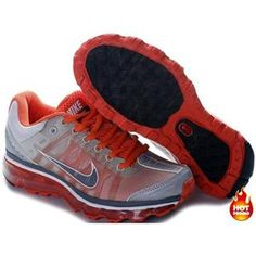 Nike Air Max 2009 Women Mesh Shoes Grey/Red Color Air Max 2009, Air Max Sneakers, Sneakers Nike, Cheap Air, Nike Air Max, Running Shoes, Orange, Grey, Red Color