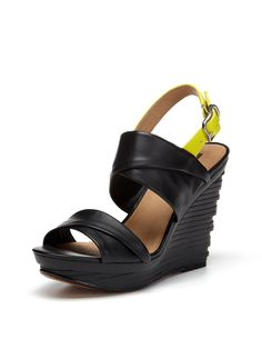Natey Wedge Slingback by Modern Vintage --- love the modern architectural style of this shoe.