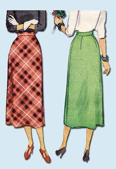 1940s Vintage McCall Sewing Pattern 7912 Uncut Misses Bias Cut Skirt Size 26 W