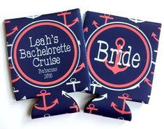 Anchor Navy and Coral Nautical Party koozies. Nautical wedding favors. Nautical bachelorette koozies - family vacation koozies too!