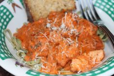 Salmon and Pasta with Creamy Tomato Basil Sauce