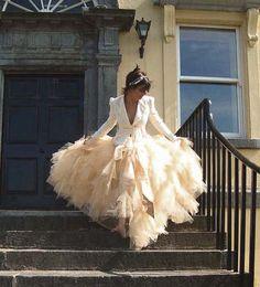 Ethereal Ruffle Wedding Skirt - Bonzie Signature Full Long Tulle Bridal Skirt in Antique Tea Stain. $750.00, via Etsy.