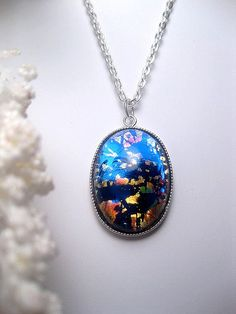 Dark Opal Necklace  Pendant  Opal Jewelry by FashionCrashJewelry
