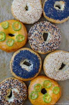The Complete Guide to Easy Homemade Bagels, including five toppings and three fl. Buttermilk Cake Recipe, Homemade Buttermilk Biscuits, Homemade Bagels, Homemade Dinner Rolls, Dinner Rolls Recipe, Bagel Recipe, Slow Cooker Bread, Cream Puff Recipe, Bagel Shop