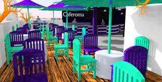 Terraza-Bar Caferoma  Aguascalientes, Mex.------Terrace Bar Caferoma Bar, Table Decorations, Furniture, Home Decor, Terrace, Blue Prints, Decoration Home, Room Decor, Home Furnishings