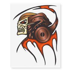 Warrior Cyborg Skull Temporary Tattoos