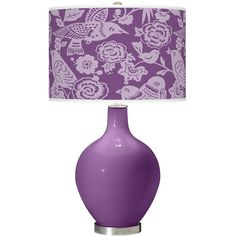Passionate Purple Aviary Ovo Table Lamp ($150) ❤ liked on Polyvore featuring home, lighting, table lamps, purple, purple lights, purple lamp, handmade lights, purple shades and colored lamps
