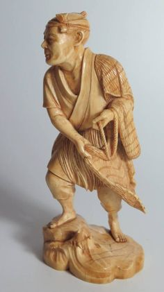 Japanese Ivory Okimono Fisherman est £250-£350 to be auctioned on the 15/6/16