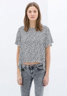 Leopard Striped Print Short Sleeve Straight Polyester T-Shirt
