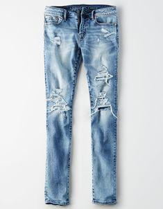 b8fc22a6 AE Ne(X)t Level AirFlex Skinny Jean, Worn Out Blue
