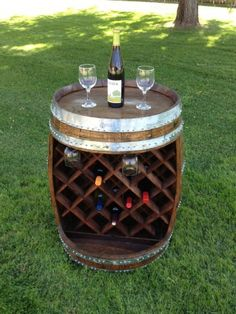 What was once a wine barrel has been recycled into an enviable custom wine and glass rack by Wyld at Heart Customs. - Wine_Wine Barrel Rack