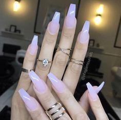 Sheer Milky Pink Long Nail Art Trends & Styles for 20182019 # Acrylic Nail Art - acrylic nails Best Acrylic Nails, Cute Acrylic Nails, Cute Nails, Pretty Nails, Gel Nails, Nail Polish, Acrylic Art, Gradient Nails, Glitter Nails