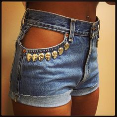 Peek-A-Boo Skull Pocket High-Waisted Shorts - these are kick ass.