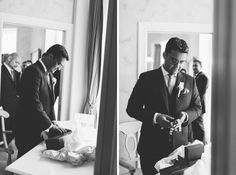 Groom opens his gift on the morning of his Oheka Castle wedding in Long Island, NY. Captured by NYC wedding photographer Ben Lau.
