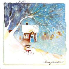 Julkort, enkla, 11 x 11 cm, av den finska konstnärinnan Minna Immonen