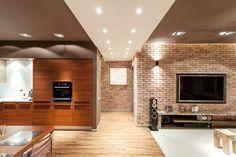 Wohnzimmerwände modern gestalten - Verblendsteine in Backstein-Optik