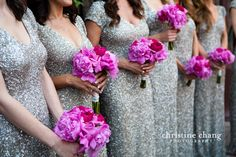 Bridesmaids. Sparkly dress, but no flowers.  Balloons instead :)
