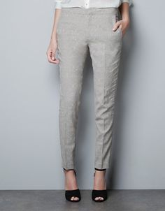 JACQUARD PATTER PANTS WITH ZIPS