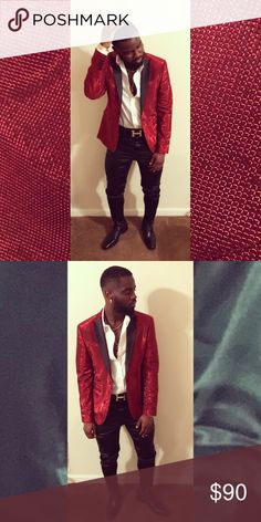 """b04f1ae9 Shop Men's ASOS Red size Sport Coats & Blazers at a discounted price at  Poshmark. Description: ASOS """"GLITTER"""" Blazer only worn TWICE."""