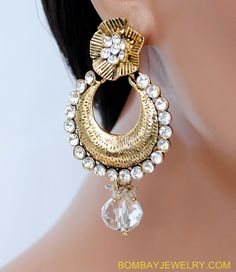 GOLDPLATED WHITE DIAMOND EARRING [Regular Price:                                    $28.00                                                                    Now only:                                    $14.00]