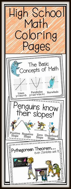 Secondary Math Fun Coloring Pages!