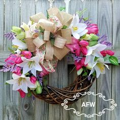 Spring wreath easter wreath grapevine wreath spring