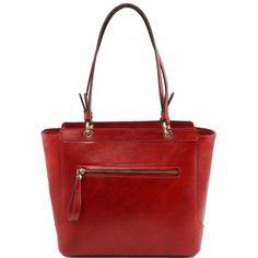 Italienische rote Leder Handtasche Neo Classic - TL141231. Made in Italy.2 KompartimenteInnen ein ReissverschlussfachHandy Halter -
