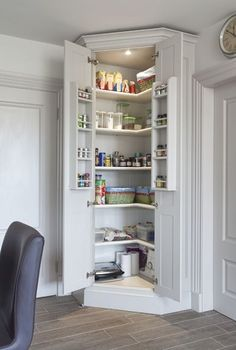 Our bespoke kitchen pantry cupboards, feature rows of crafted shelving & storage solutions to allow for efficient organisation and clutter free kitchens. pantry ideas walk in Corner Larder Cupboard, Kitchen With Corner Pantry, Corner Kitchen Cabinets, Diy Kitchen Storage Cabinet, Tall Corner Cabinet, Corner Pantry Organization, Kitchen Pantry Cupboard, Kitchen Appliance Storage, Diy Cupboards