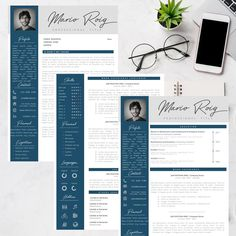 Eye-catching Professional Resume + Cover letter Template Editable for MS Word - Curriculum Vitae - English CV with Fonts included - Resume Cover Letter Template, Letter Templates, Resume Templates, Creative Cv Template, Professional Resume, Good Mood, Lettering, Eye, Words