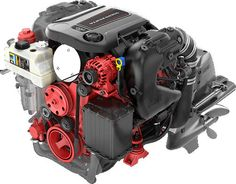 Volvo Penta V6-280: This view shows how the FEAD is attached to the front of the engine.