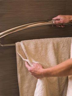 Combination grab bar/towel bar being used Ada Bathroom, Handicap Bathroom, Bathroom Towels, Bathroom Fixtures, Master Bathroom, Bathroom Ideas, Bathroom Makeovers, Downstairs Bathroom, Bath Ideas