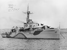 HMS HIND a Modified Black Swan-class sloop. At anchor on completion. Tin Can Sailors, Dazzle Camouflage, Capital Ship, Landing Craft, Naval History, Navy Ships, Military Equipment, D Day, Royal Navy