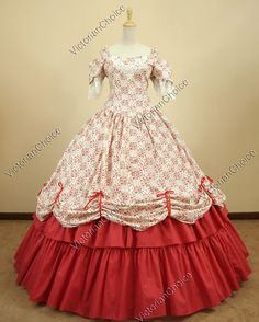 Southern Belle Civil War Cotton Lace Ball Gown Dress Prom Reenactment    The color of this lovely dress would terribly clash with my hair color but it is so cute I am not sure i care. I just love the quilt like pattern of the bodice & overskirt. The lace detail on the bodice is such a delicate and ladylike touch, dont forget those darling cutout sleeves. So pretty!!