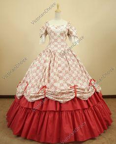 Southern Belle Civil War Cotton Lace Ball Gown Dress Prom Reenactment
