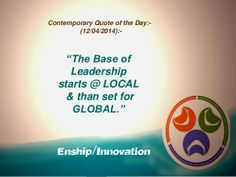 Contemporary Quote of the Day - (12/04/2014):- by Enship/Innovation via slideshare