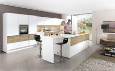 nobilia laser plus premium white light oak 480 Nobilia Kitchen, Kitchen Island, Kitchen Decor, Kitchen Ideas, Atrium, Le Boudin, Plank, U Shaped Kitchen, Quality Kitchens