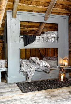 Love these bunk beds! Would be fun to have in a house someday if our kiddos share a room. House Design, Bunk Beds, Decor, Bed, Home, Interior, Bunk Beds Built In, Home Bedroom, Home Decor