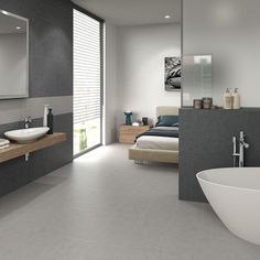 When choosing tile for your bathroom, planning is essential. Before you start, take a good look at your bathroom. Small Dark Bathroom, Dark Bathrooms, Open Bathroom, Bathroom Renos, Basement Bathroom, Bathroom Interior, Bathroom Tile Designs, Modern Bathroom Design, Open Plan Bathrooms