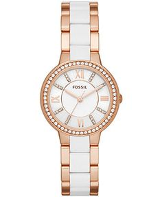Fossil Women's Virginia White and Rose Gold-Tone Stainless Steel Bracelet Watch 28mm ES3561
