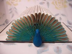 Peacock Folded Pages Book Art -- Origami Sculpture from…