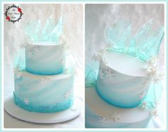 frozen cake Frozen themed cake with edible ice, airbrushing and snowflakes. Client had purchased plastic characters to place on the cake, but I liked it on its own. Bolo Frozen, Torte Frozen, Elsa Torte, Disney Frozen Cake, Frozen Theme Cake, Frozen Themed Birthday Party, Disney Cakes, Birthday Parties, 5th Birthday