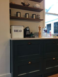 Farrow and Ball Inchyra Blue cabinetry, hand patinated brass cup handles, Quartz worktop by Silestone. The heart of the home. Farrow And Ball Inchyra Blue, High End Kitchens, Bespoke Kitchens, Joinery, Liquor Cabinet, Kitchen Design, Quartz, Brass, Interior