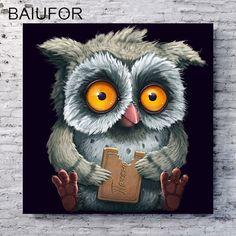 BAIUFOR full diamond embroidery little owl painting of rhinestones diy round diamond mosaic sale cross-stitch kits friend gift #Affiliate