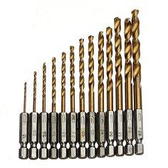 13 unids HSS alta velocidad de acero de titanio recubierto Drill Bit Set 1/4 mango hexagonal 1.5 - 6.5 mm, cambio rápido herramienta de perforación de Metal para trabajar la madera
