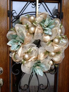 Winter Wreath Christmas Wreath Gold Wreath by CreativeDoorDeco, $112.00
