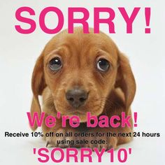 Sorry for all the inconvenience everyone! The website is back up and running! Recieve 10% off your online orders for the next 24 hours using code: SORRY10! 😊💕 Happy hump day everyone! XO #sophieandtrey