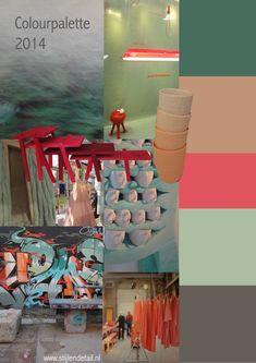 Moodboards en paletten: de kleuren van 2014 Pallet van 2014 van Marie-Bon Vos Een bijzonder pallet door de onderlinge combinaties van  dramatische kleuren en zachte poeder pastels