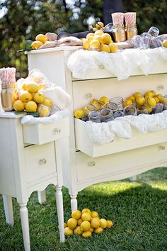 chic vintage wedding ideas with lemonade stand